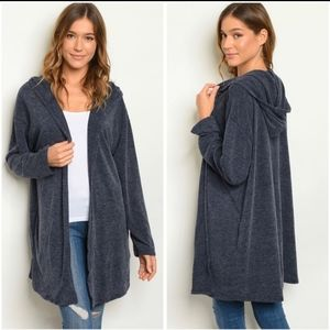 Blue Hoodie Cardigan, Midweight, Large, NWT